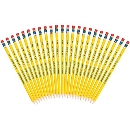 USA Gold Natural Wood Presharpened #2 Pencils 24-Pack (41055), 24 count quality wooden pencils with latex-free erasers By Write Dudes (Usa Gold Pencils)