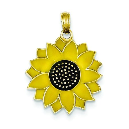 Enamel Sunflower Charm, 14K Yellow (Pewter Sunflower Charms)