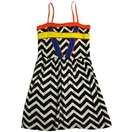 Flowers by Zoe - Little Girls Tank Dress - 6 Styles to Choose - 30 Day Guarantee Black White Zig Zag / 10