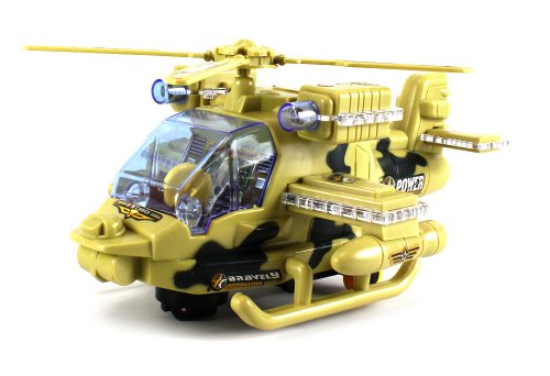 Military Sky Warrior Gunship Battery Operated Bump and Go Toy Helicopter w  Flashing... by Velocity Toys