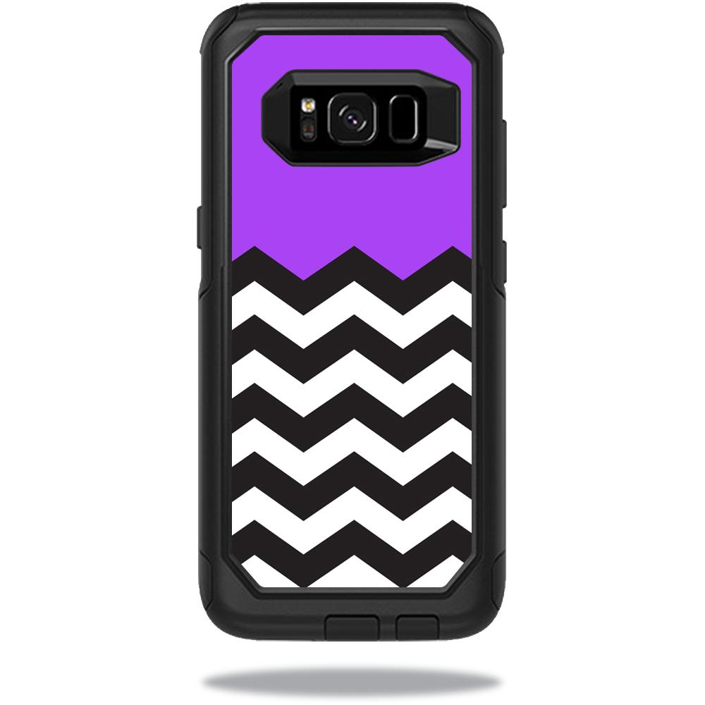MightySkins Protective Vinyl Skin Decal for OtterBox CommuterSamsung Galaxy S8 Case sticker wrap cover sticker skins Purple Chevron