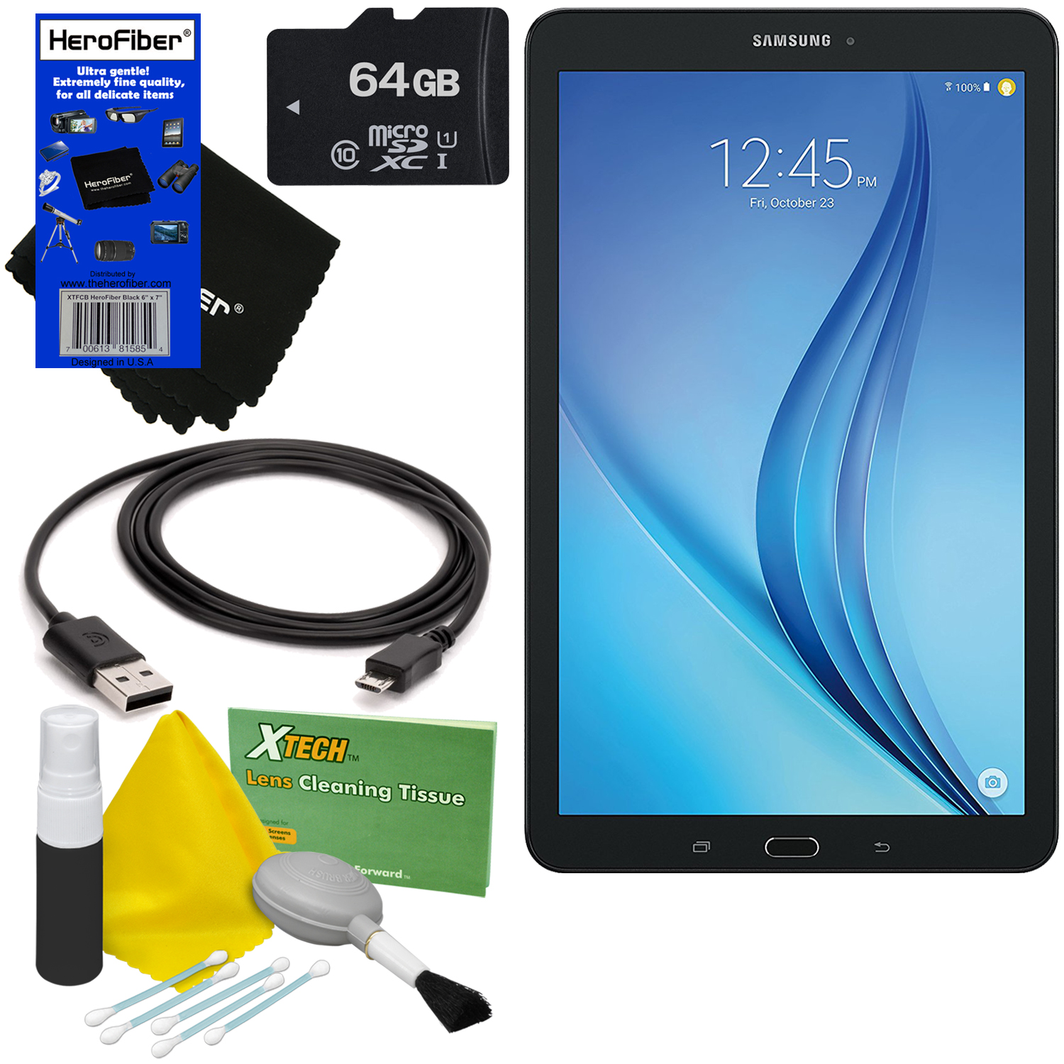 """Samsung Galaxy Tab E 9.6"""" 16GB Wi-Fi Tablet (Black) + 64GB MicroSD High Capacity Memory Card + USB Cable + 5pc Deluxe Cleaning Kit + HeroFiber® Ultra Gentle Cleaning Cloth"""