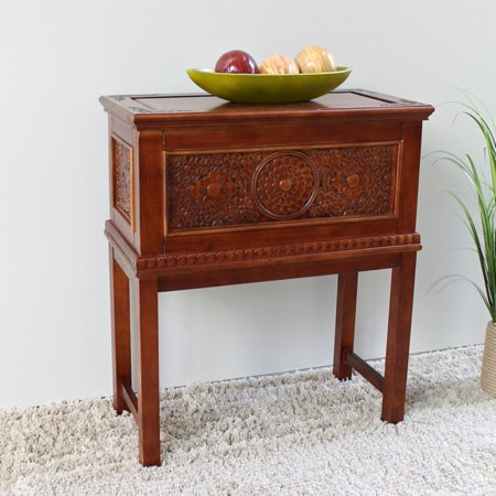 International Caravan Windsor Hand Carved Walnut Stain Trunk