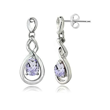 Sterling Silver Amethyst Triple Infinity Twist Dangle (Triple Twist Earrings)