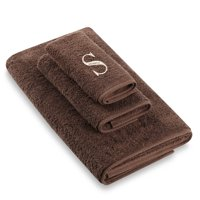 Avanti Brown Ivory Block Monogram 3 Piece Towel Set in Mocha Egyptian Cotton - S