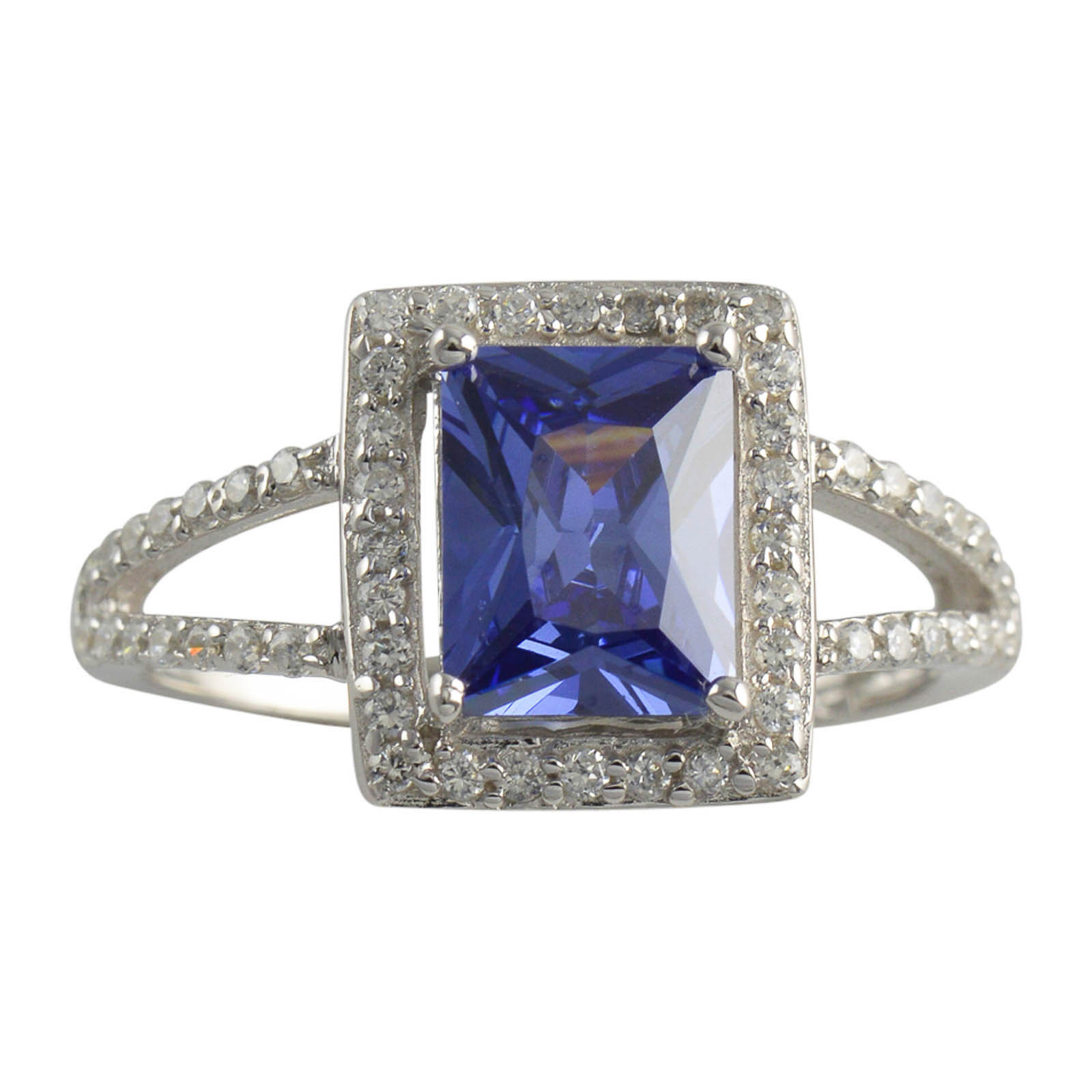 Sterling Silver Radiant Cut Blue CZ Womens Band 925 Ladies Ring Size 5