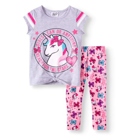 Unicorn Tie-Front Varsity Tee and Legging, 2-Piece Outfit Set (Little Girls) - Little Girls Clothing Store