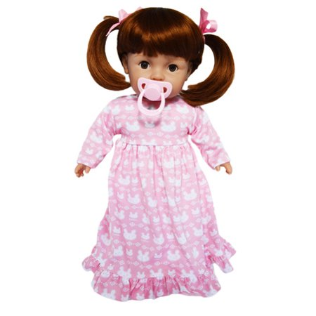 My Brittany's Tiny Tots Girl Doll With Pacifier-17 Inch Baby Doll-Comes in Pink Nightgown Sheer Baby Doll Nightie