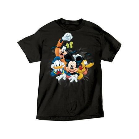 Disney Adult Fab 4 Bursting Goofy Donald Mickey & Pluto Tee Small](Goofy Sayings)
