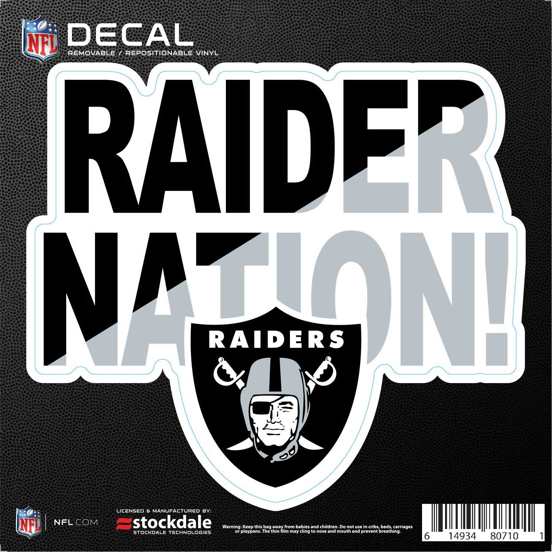 """Oakland Raiders 6"""" x 6"""" Xpression Full Color Repositionable Decal - No Size"""