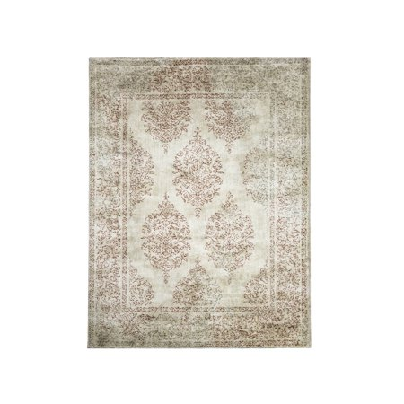 Furniture of America Contemporary 5 x 7 Beige Damask Recycled Fiber Rug ()