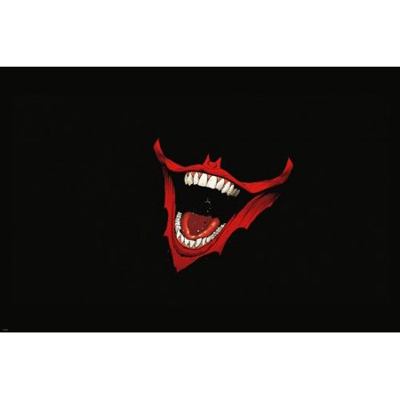 Joker Smile Sharp Teeth Red Lips Poster 24X36 Unique Graphic Bold