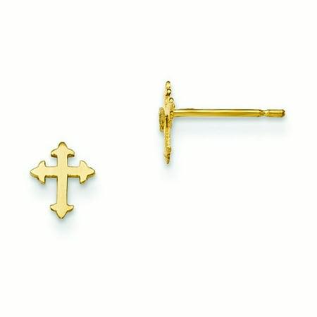 14k Yellow Gold Madi K Childrens Cross Post Earrings - .2 Grams