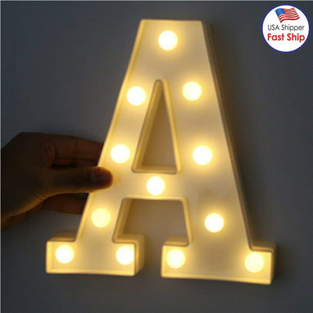 Decorative LED Illuminated Letter Marquee Sign - Alphabet Marquee Letters with Lights For Wedding Birthday Party Christmas Night Light Lamp Home Bar Decoration A (Lights For A Party)