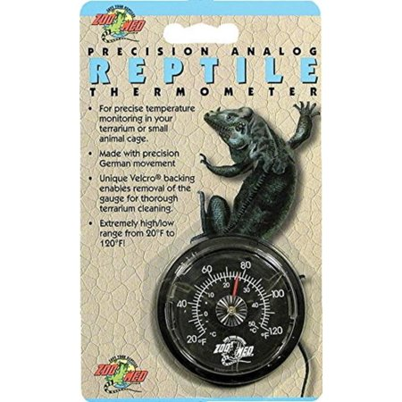 Analog High Range Reptile Thermometer, Velcro backing for easy removal during clean ups By Zoo -