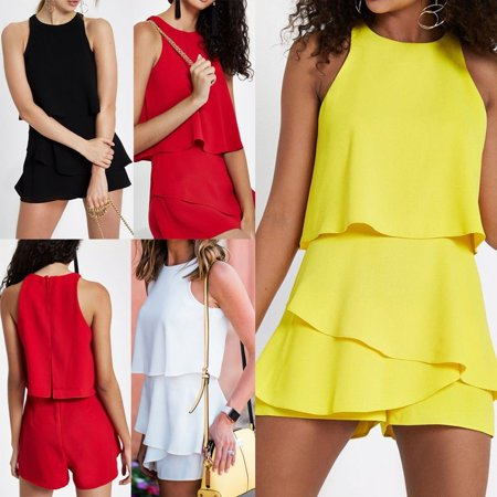 Womens Holiday Playsuit Romper Ladies Ruffles Jumpsuit Summer Beach Clubwear
