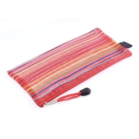Meshy Style Stripes Zip Up B6 Paper Document File Pen Bag Holder