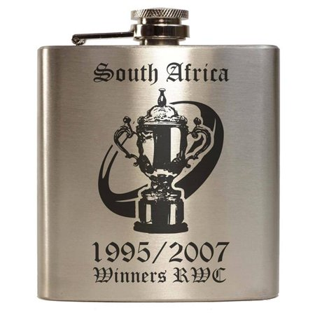 Tuff Luv I13-1-RWC-SouthAfrica 6 oz Rwc Rugby World Cup Champions South Africa Springbok 1995 2007 Hip Flask, Mat Brushed Silver - Stainless (South Africa Springboks Rugby)