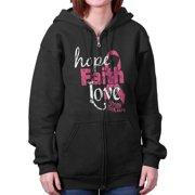 Breast Cancer Awareness Shirt | Faith Hope Love Support Pink Zipper Hoodie