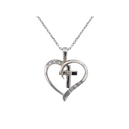 - CZ Sterling Silver Cross Heart Pendant, 18
