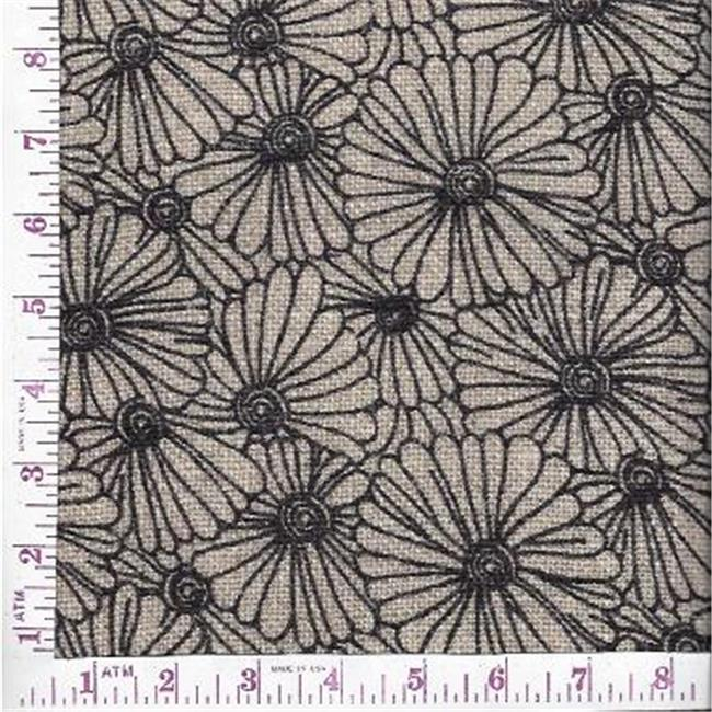 Textile Creations BLV-122 Burlap Printed, Floral All Over Black On Natural