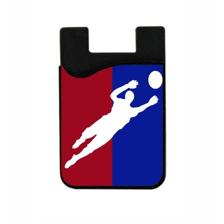 - Soccer Goalie  - Stick On Adhesive Black Silicon Card Holder/ Pocket for Cell Phones