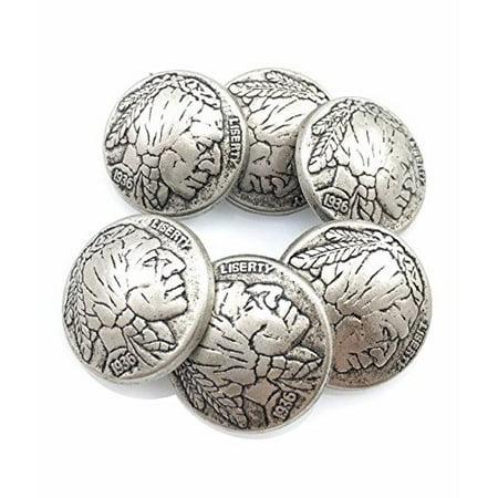 Indian Head Coat Buttons Concho Ornament 19MM Metal 6 Piece Set