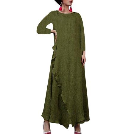 5a3d4e2a2f675 Women's Vintage Long Sleeve Solid Color Maxi Long Dress