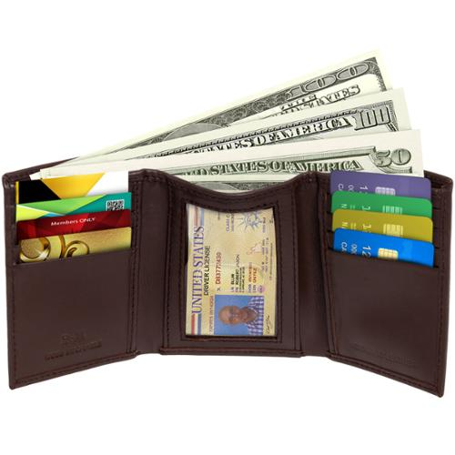 NEW Brown RFID Blocking Genuine Leather Trifold Wallet by Ross Michaels for Men
