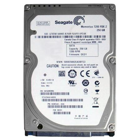 Seagate Momentus 7200 FDE.2 250GB 7200RPM SATA 3Gbps 16MB Cache 2.5-inch Internal Hard Drive Mfr P/N ST9250414ASG Cache 7200rpm Internal Hard Drive