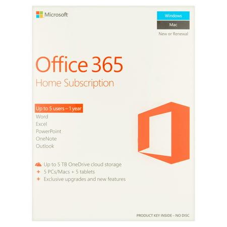 Microsoft Office 365 Home Subscription  5 Users  Pc Mac Key Card