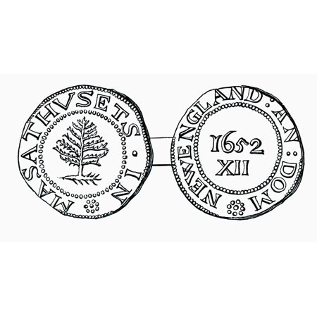 The Pine-Tree Shilling Currency In The Province Of Massachusetts Bay In 1652 From The Book Short History Of The English People By JR Green Published London 1893 Canvas Art - Ken Welsh Design Pics (40