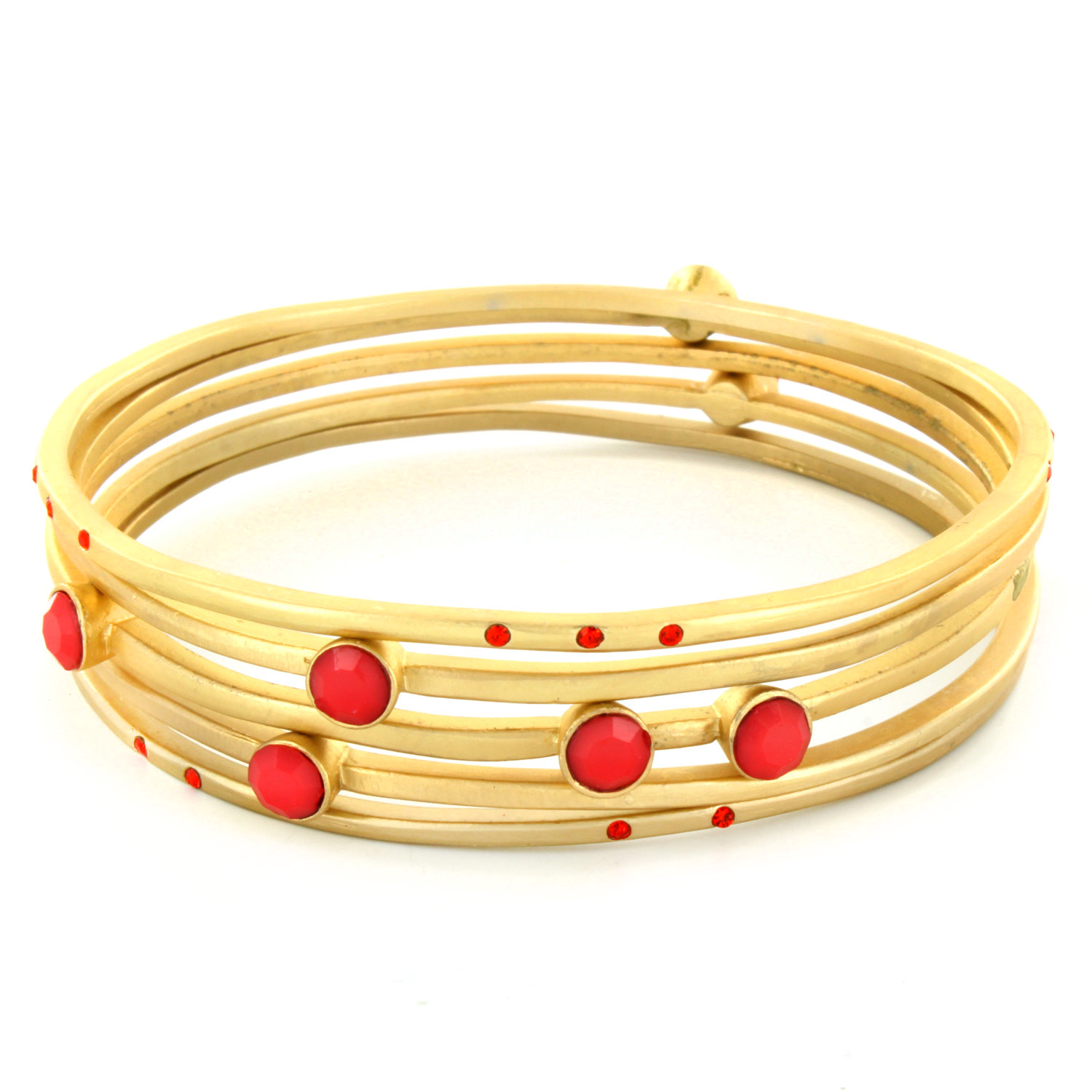 "Goldtone Colored Coral Crystals 5-Piece Bangle Bracelets (16mm) 8.5"" by"