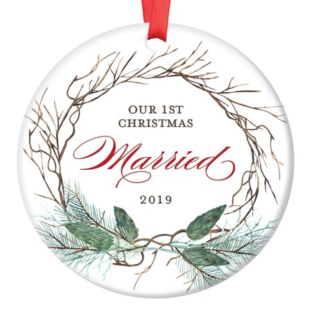 1st Year Married Ornament, 2019 Christmas Ornament for Newlywed Couple, First Xmas Ornaments for the Bride & Groom Ceramic Present Keepsake 3