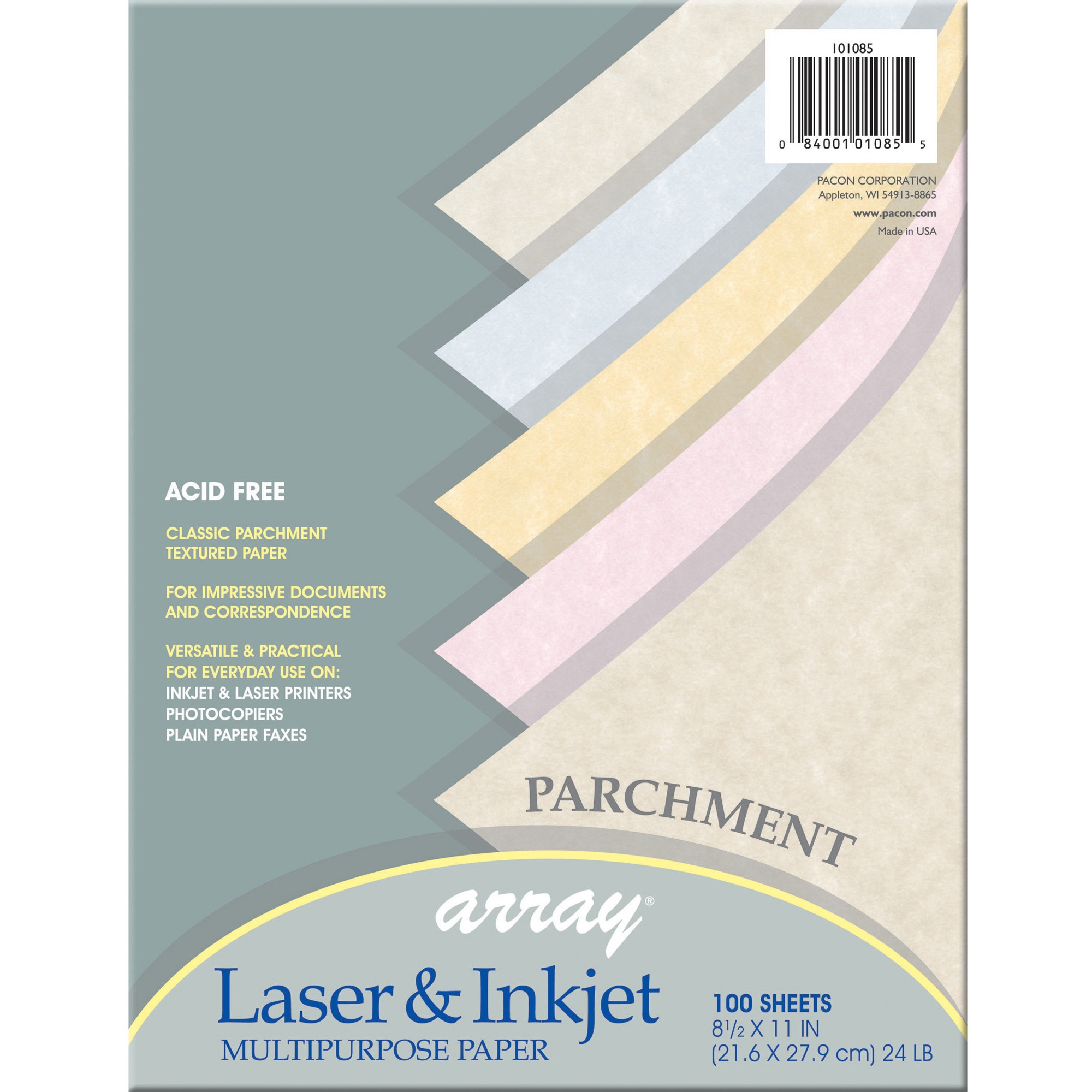 Pacon, PAC101085, Parchment Bond Paper, 100 / Pack, Assorted
