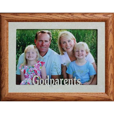 5X7 Jumbo ~ Godparents ~ Landscape Picture Frame ~ Laser Cream Marbled Mat With Frame (Fruitwood) (Godparent Picture Frame)