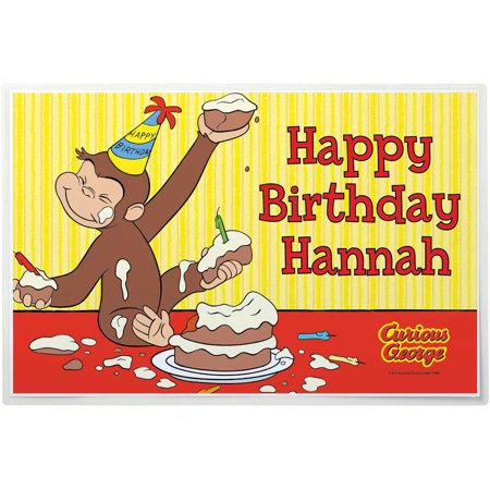 (Personalized Curious George Happy Birthday Placemat)