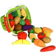 Playkidiz Super Durable Healthy Fruit and Vegetables Basket - Pretend Play Kitchen Food Educational Playset with Toy Knife, Cutting board (32 Pieces of fruit and vegetable toys)