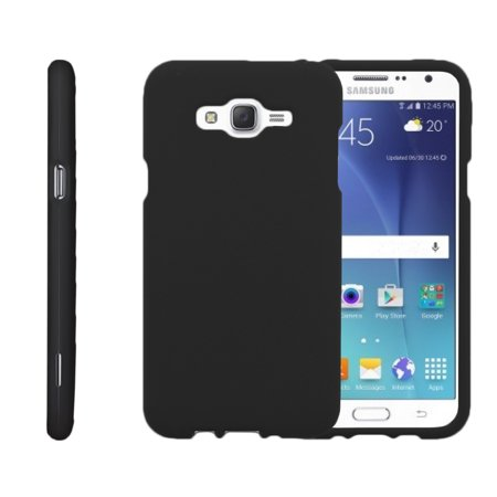 Plastic Cello (Samsung Galaxy J7, J700 (2015), [SNAP SHELL][Matte Black] 2 Piece Snap On Rubberized Hard Plastic Cell Phone Cover with Cool Designs - Black )