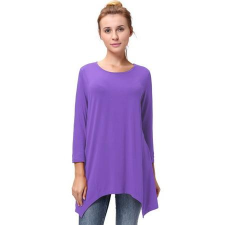 f8b61b41126 Lelinta - Fashion Women s 3 4 Sleeves Blouse Tops Round Neck Loose Fit  Tunic Shirt Tops with Irregular Hem Plus Size - Walmart.com