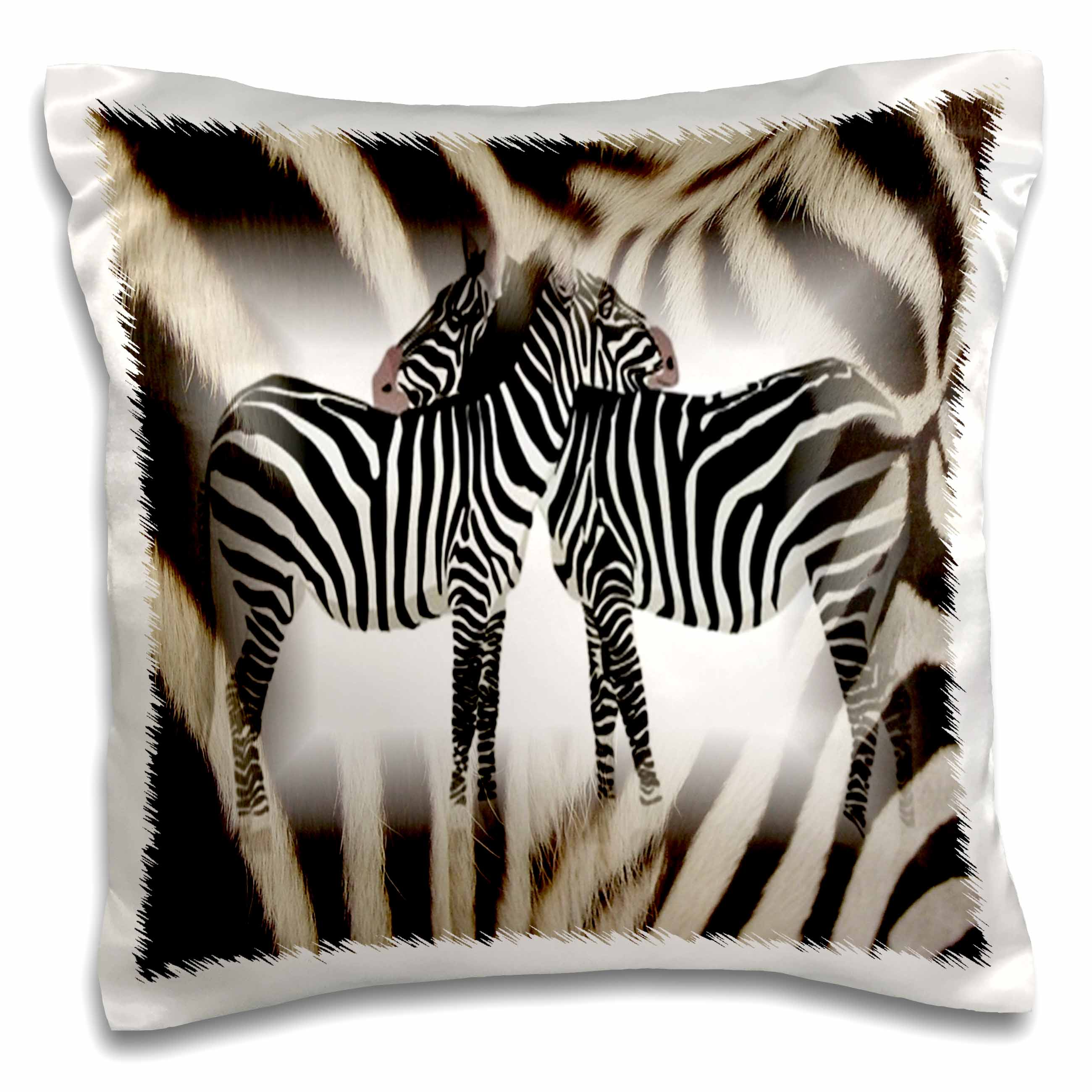 3dRose 2 Hugging Zebras On Real Zebra Fur, Pillow Case, 16 by 16-inch