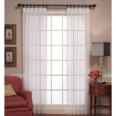 Pinch Pleated Sheer Curtains (Emelia Sheer white pinch-pleated drape pair)