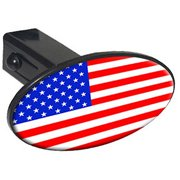 """Usa Flag Country, United States 1.25"""" Oval Tow Trailer Hitch Cover Plug Insert"""