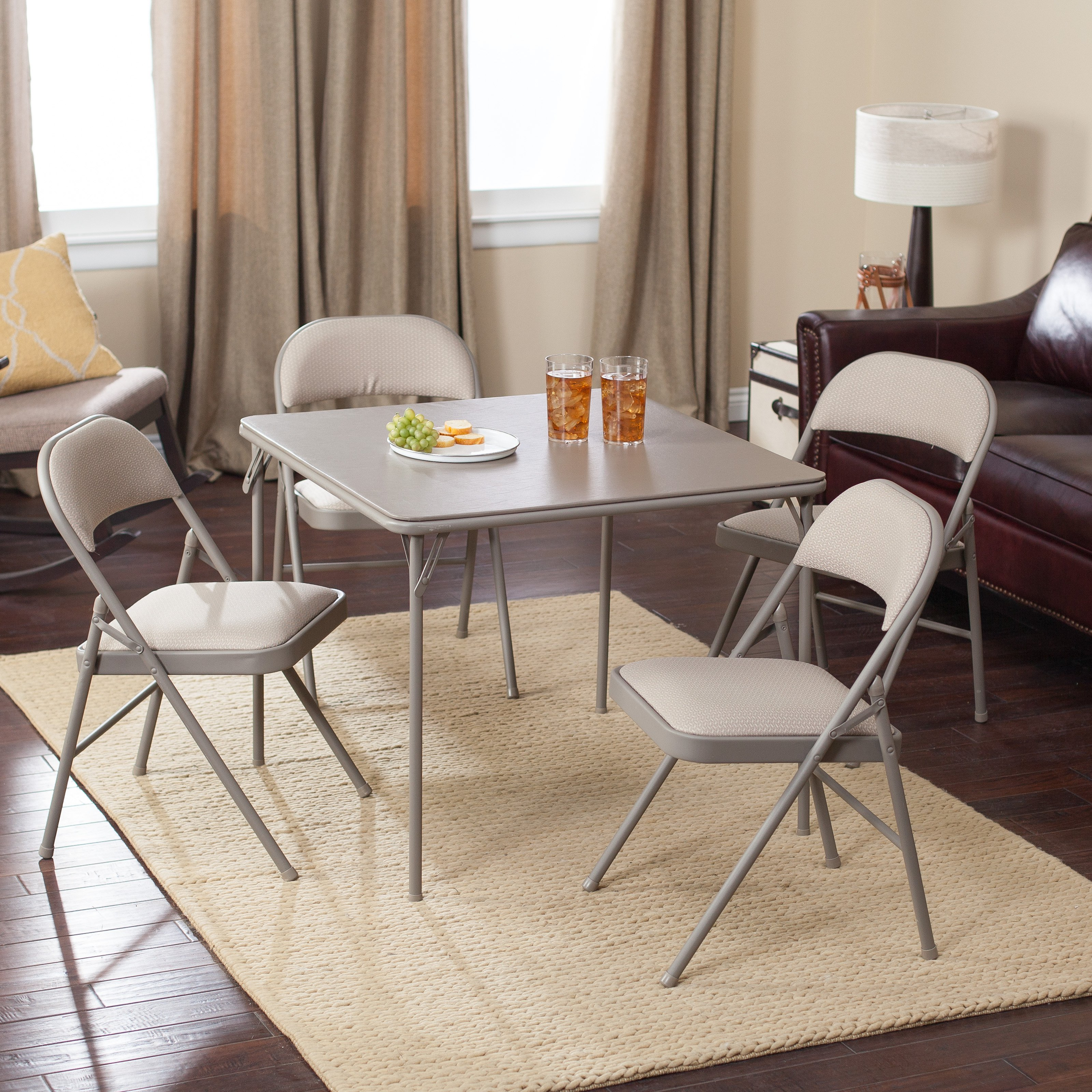 Awesome Meco Sudden Comfort Deluxe Double Padded Chair And Back   5 Piece Card  Table Set