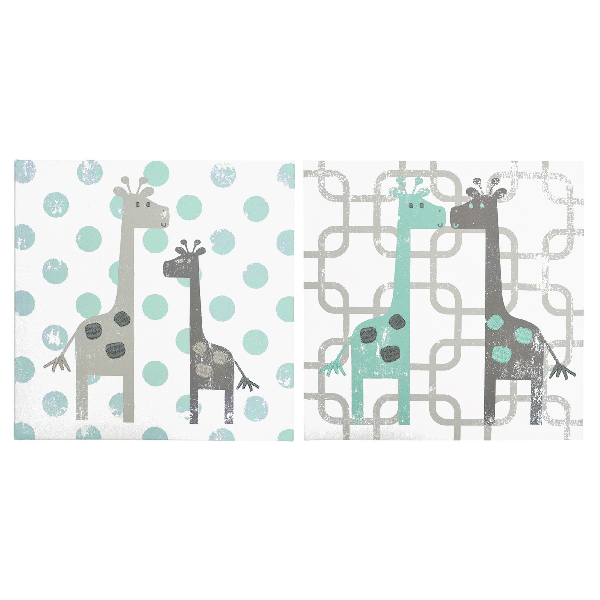 The Peanut Shell Canvas Wall Artwork Distressed Grey and Mint Giraffes Uptown Giraffe Nursery Wall Hangings... by The Peanut Shell