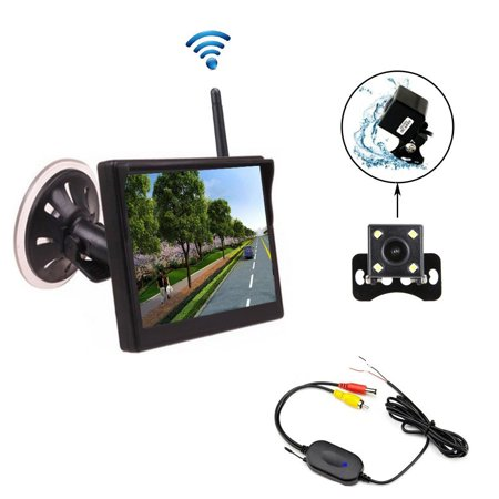 Podofo Backup Camera Wireless 5 Inch Color Monitor Car Backup System Mini Rear View Camera Night Vision Waterproof 170 Degree (2370GHZ wireless backup