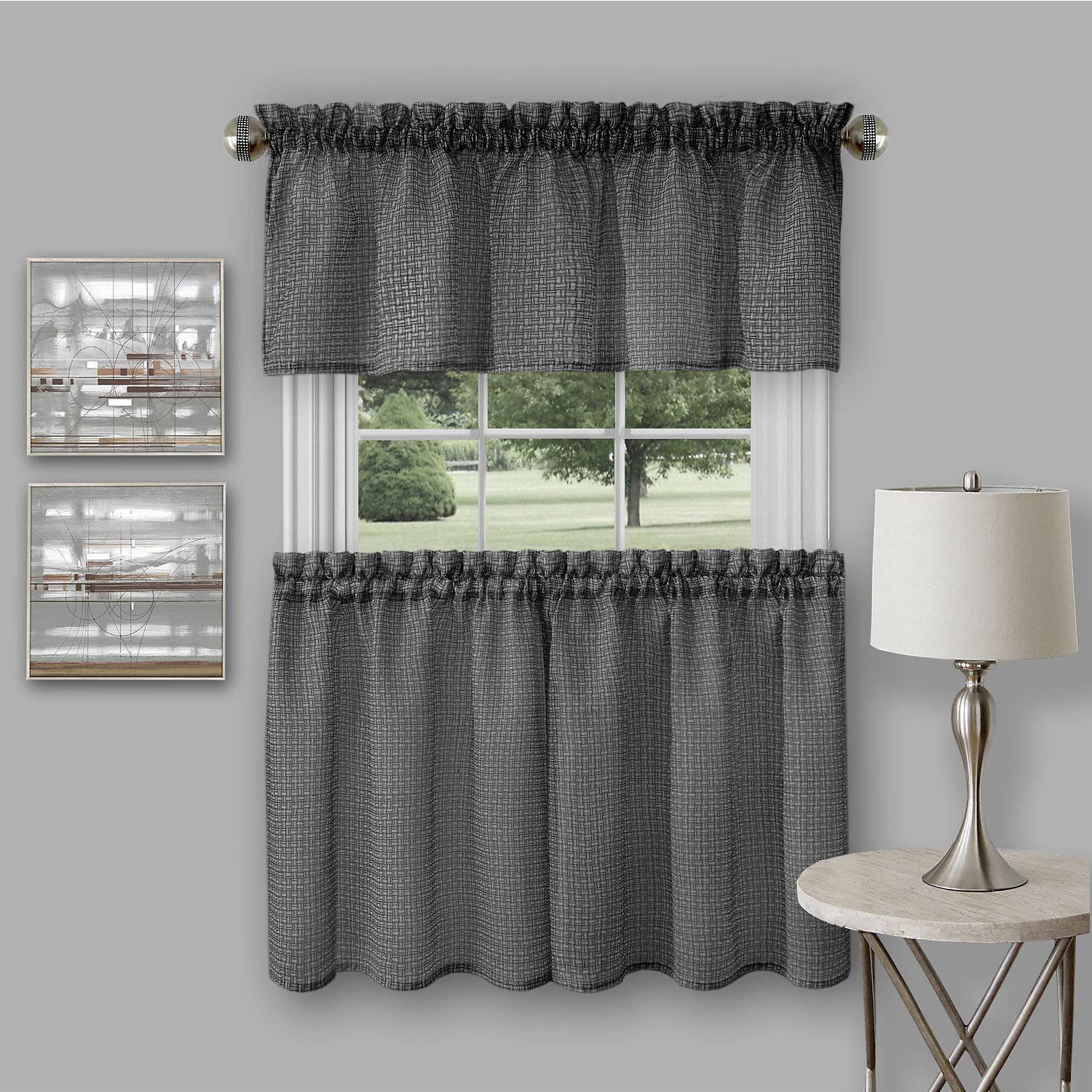 Richmond Window Kitchen Curtain Tier Pair And Valance Set   Walmart.com