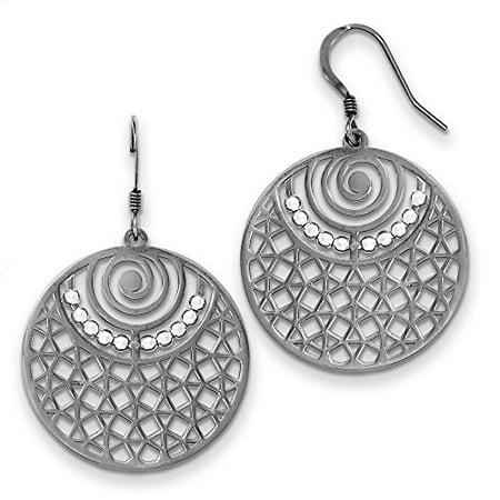 925 Sterling Silver 48 Mm Round Dangle Shepherd Hook Earrings