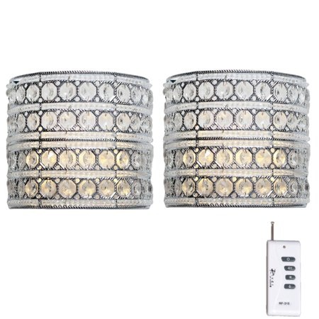River of Goods Set of 2, Crystal Glam Monroe Cordless LED Wall Sconces Hall Crystal Sconce