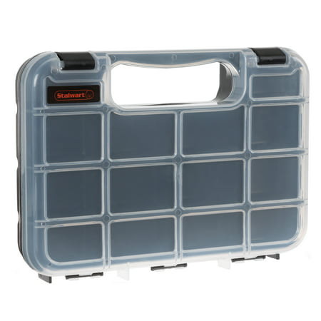 Portable Storage Case with Secure Locks and 14 Small Bin Compartments for Hardware, Screws, Bolts, Nuts, Nails, Beads, Jewelry and More by Stalwart ()